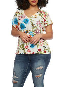 Plus Size Short Sleeve Floral T Shirt - 1803051060686