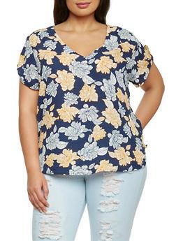 Plus Size Short Sleeve Floral T Shirt - 1803051060686