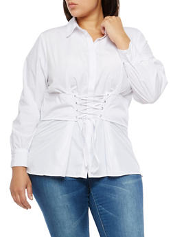 Plus Size Corset Waist Button Front Shirt - 1803051060698