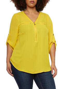 Plus Size Zipper V Neck Top with Pockets - MUSTARD - 1803051060759