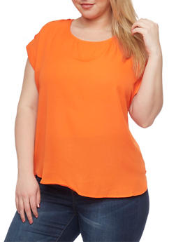 Plus Size Crepe Blouse with Tabbed Short Sleeves - 1803051060763