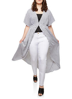 Plus Size Striped Flutter Sleeve Duster - 1803051060836
