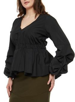Plus Size Bubble Sleeve Peplum Top - BLACK - 1803051060907