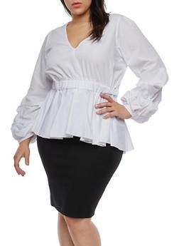 Plus Size Bubble Sleeve Peplum Top - WHITE - 1803051060907