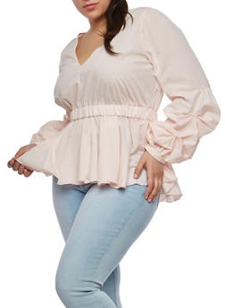 Plus Size Bubble Sleeve Peplum Top - 1803051060907