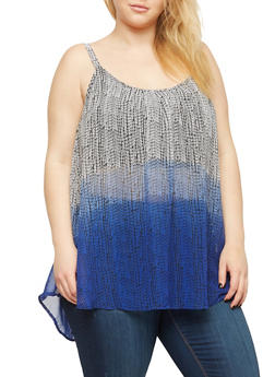 Plus Size Sheer Printed Sleeveless Top - 1803051060986
