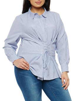 Plus Size Striped Corset Waist Shirt - 1803051060987