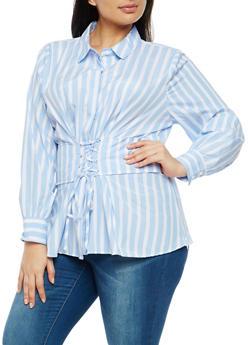 Plus Size Striped Corset Waist Shirt - 1803051060987