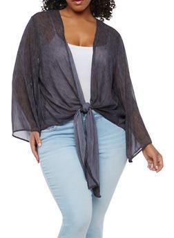 Plus Size Sheer Tie Front Top - 1803051066578