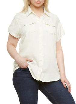 Plus Size Denim Button Down Top With Roll Tab Sleeves,LIGHT WASH,medium