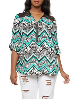 Plus Size Chiffon Lace Yoke Top,GREEN,medium