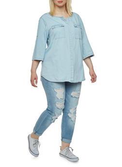 Plus Size Denim Top with Flap Chest Pockets - 1803051066848