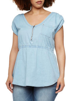 Plus Size Chambray Top with Shirred Shoulders - 1803051066849