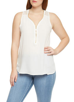 Plus Size Sleeveless Top with Zip Front and Lace Panel - IVORY - 1803051066859
