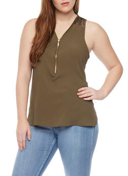 Plus Size Sleeveless Top with Zip Front and Lace Panel - OLIVE - 1803051066859