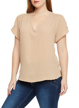 Plus Size Crepe V Neck Top with Button Tab Sleeves - 1803051066863