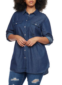 Plus Size Chambray Top with Snap Buttons - 1803051066865