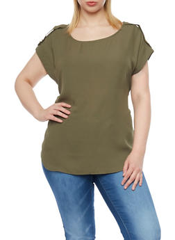 Plus Size Chiffon T Shirt with Faux Tab Cap Sleeves - OLIVE - 1803051066876