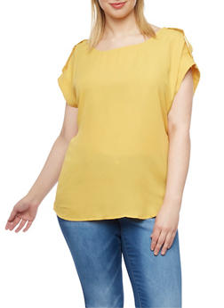 Plus Size Chiffon T Shirt with Faux Tab Cap Sleeves - MUSTARD - 1803051066876