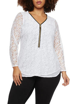 Plus Size Lace Top with Zipper Neckline - 1803051066888