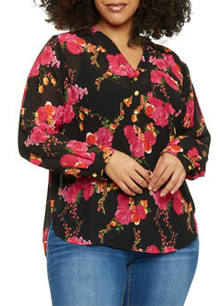 Plus Size Floral Mandarin Collar High Low Blouse - 1803051066911
