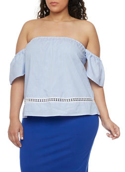 Plus Size Striped Off the Shoulder Peasant Top with Flower Eyelet Trim - 1803051066919