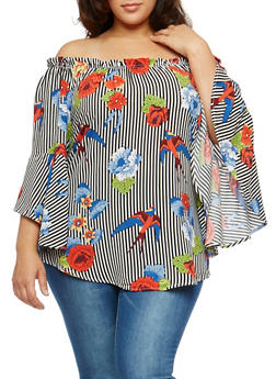 Plus Size Striped Floral Off the Shoulder Top - 1803051066945