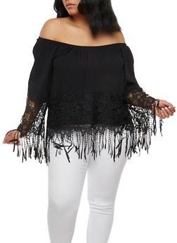 Plus Size Off the Shoulder Crochet Fringe Top - 1803051066986