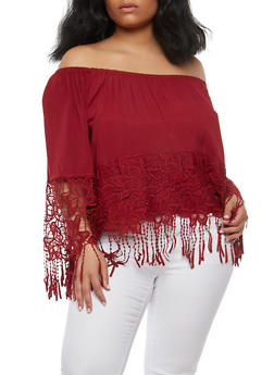 Plus Size Off the Shoulder Crochet Fringe Top - 1803051066986