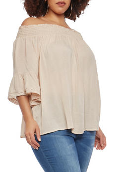Plus Size Gauze Knit Off the Shoulder Top - 1803051066991