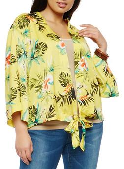 Plus Size Tropical Print Tie Front Kimono - 1803051067648
