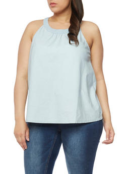 Plus Size Sleeveless Denim Tank Top - 1803051067857