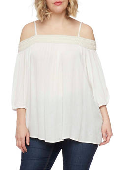 Plus Size Embroidered Cold Shoulder Top with 3/4 Sleeves - IVORY - 1803051068002