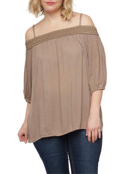 Plus Size Embroidered Cold Shoulder Top with 3/4 Sleeves - 1803051068002