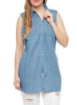 Plus Size Sleeveless Denim Tunic With Two Pockets,LIGHT WASH,medium