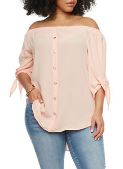 Plus Size Off the Shoulder Peasant Top with Tie Sleeves - 1803051068281