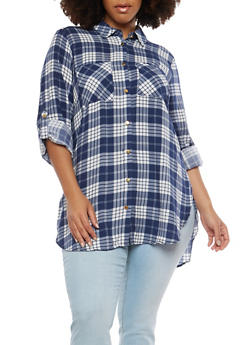 Plus Size Plaid Button Front Shirt - 1803051068381