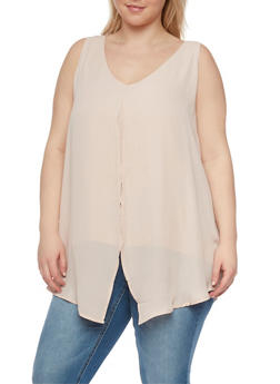 Plus Size Solid Sleeveless Split Front Top - 1803051068452