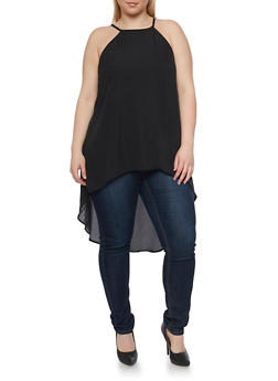 Plus Size Sleeveless Split Back Tunic Top - 1803051068493