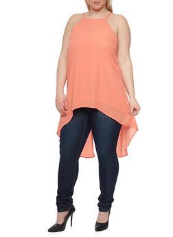 Plus Size Sleeveless Split Back Tunic Top - 1803051068493