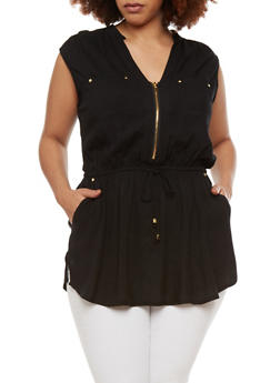 Plus Size Tunic Top with Zip Front and Drawstring Waist - 1803051068526