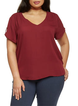 Plus Size High Low V Neck Top - WINE - 1803051068634