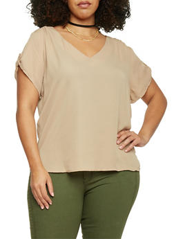 Plus Size High Low V Neck Top - 1803051068634