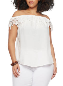 Plus Size Off the Shoulder Top with Crochet Neckline - WHITE - 1803051068761