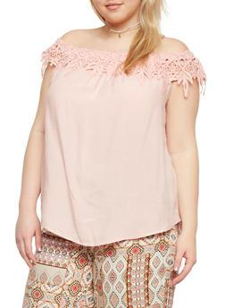 Plus Size Off the Shoulder Top with Crochet Neckline - BLUSH - 1803051068761