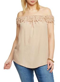 Plus Size Off the Shoulder Top with Crochet Neckline - 1803051068761