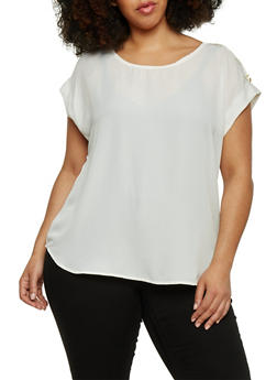Plus Size Tabbed Short Sleeve Chiffon Top - IVORY - 1803051068763
