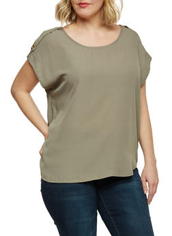 Plus Size Tabbed Short Sleeve Chiffon Top - 1803051068763