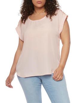 Plus Size Tabbed Short Sleeve Chiffon Top - 1803051068763