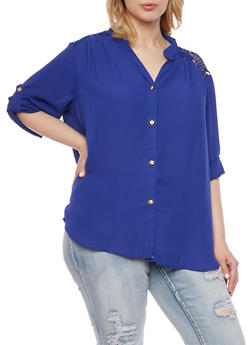Plus Size Button Front Shirt with Crochet Panel - 1803051068877